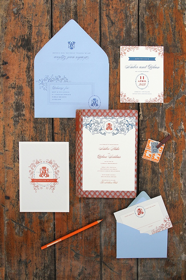 avery address labels wedding invitations%0A Magnolia Rouge  Modern Orange  u     Blue Invitations by Ruby  u     Willow   weddinginvitations  stationery