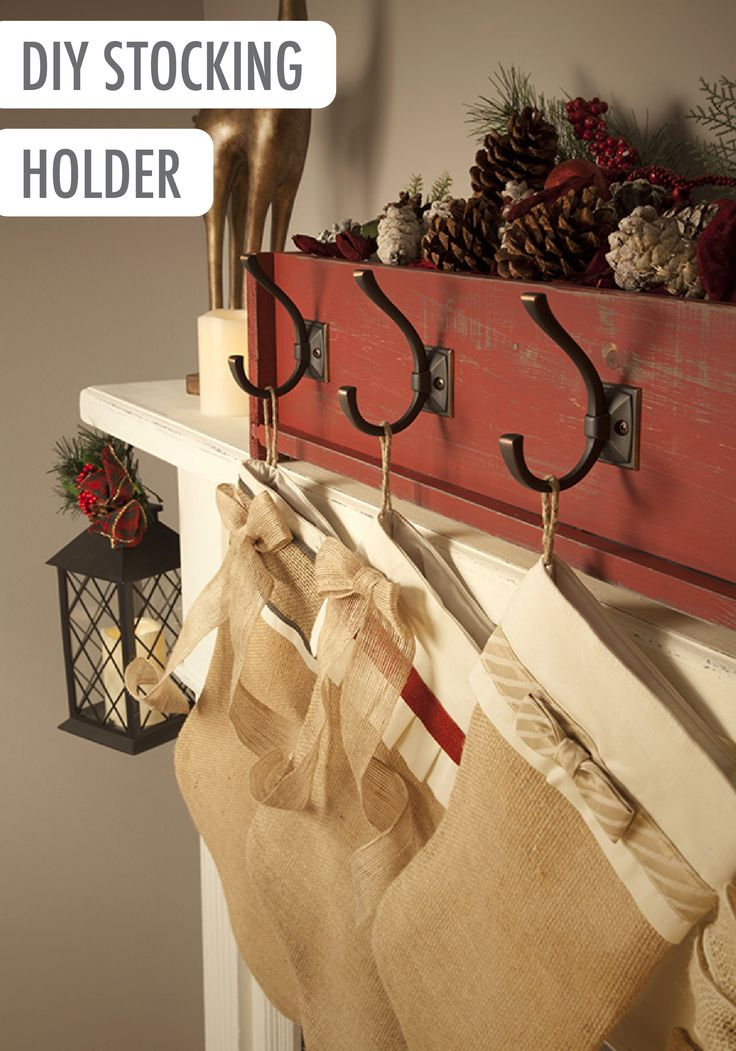 Add a handmade touch to your mantle by making your very own DIY stocking holder in a classic shade of Forbidden Red BEHR paint. Your space is sure to have the traditional style you enjoy!