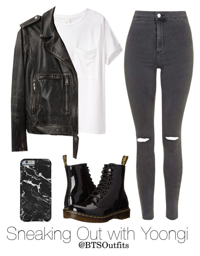 """""""Sneaking Out with Yoongi"""" by btsoutfits ❤ liked on Polyvore featuring Dr. Martens, AR SRPLS, Topshop and R13"""