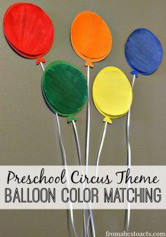 preschool circus theme unit activities - balloon color matching