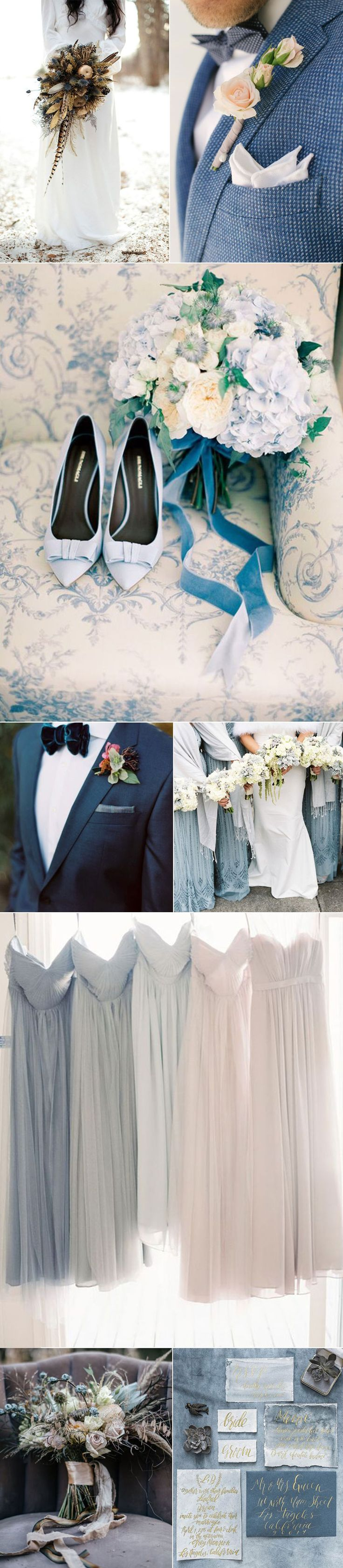 Wedding Ideas In Slate Blues |  Muted Blue Winter Weddings
