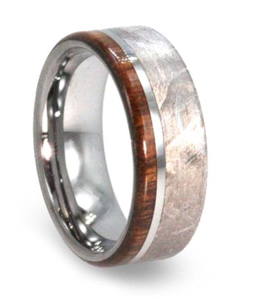 Fresh Tungsten Wedding Band with Meteorite and