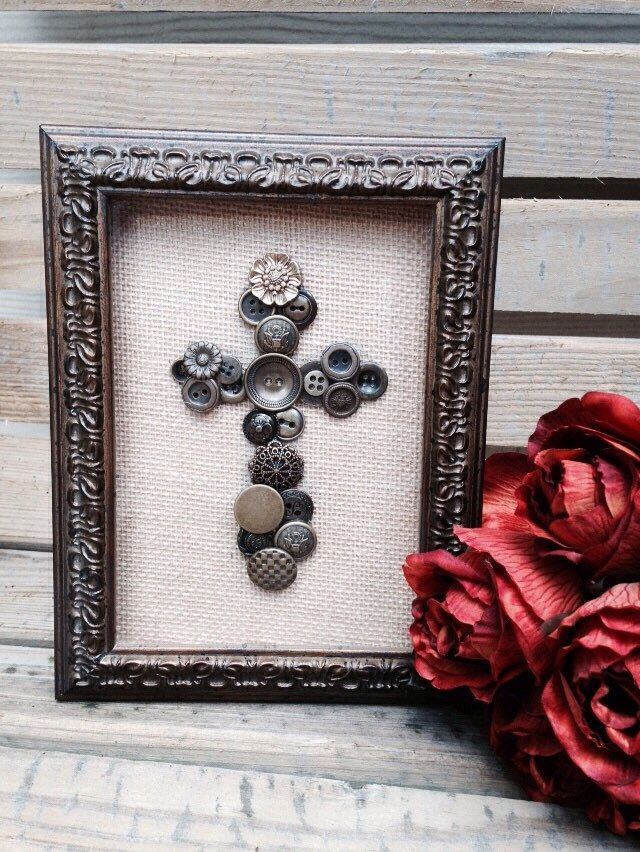 Framed Cross Embellished with Brown/Bronze tone Vintage Buttons on Burlap Canvas, Mixed Media Art by HarperPark on Etsy https://www.etsy.com/listing/268080769/framed-cross-embellished-with