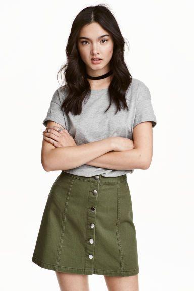A-vonalú szoknya - Khakizöld - NŐI   H&M HU 1