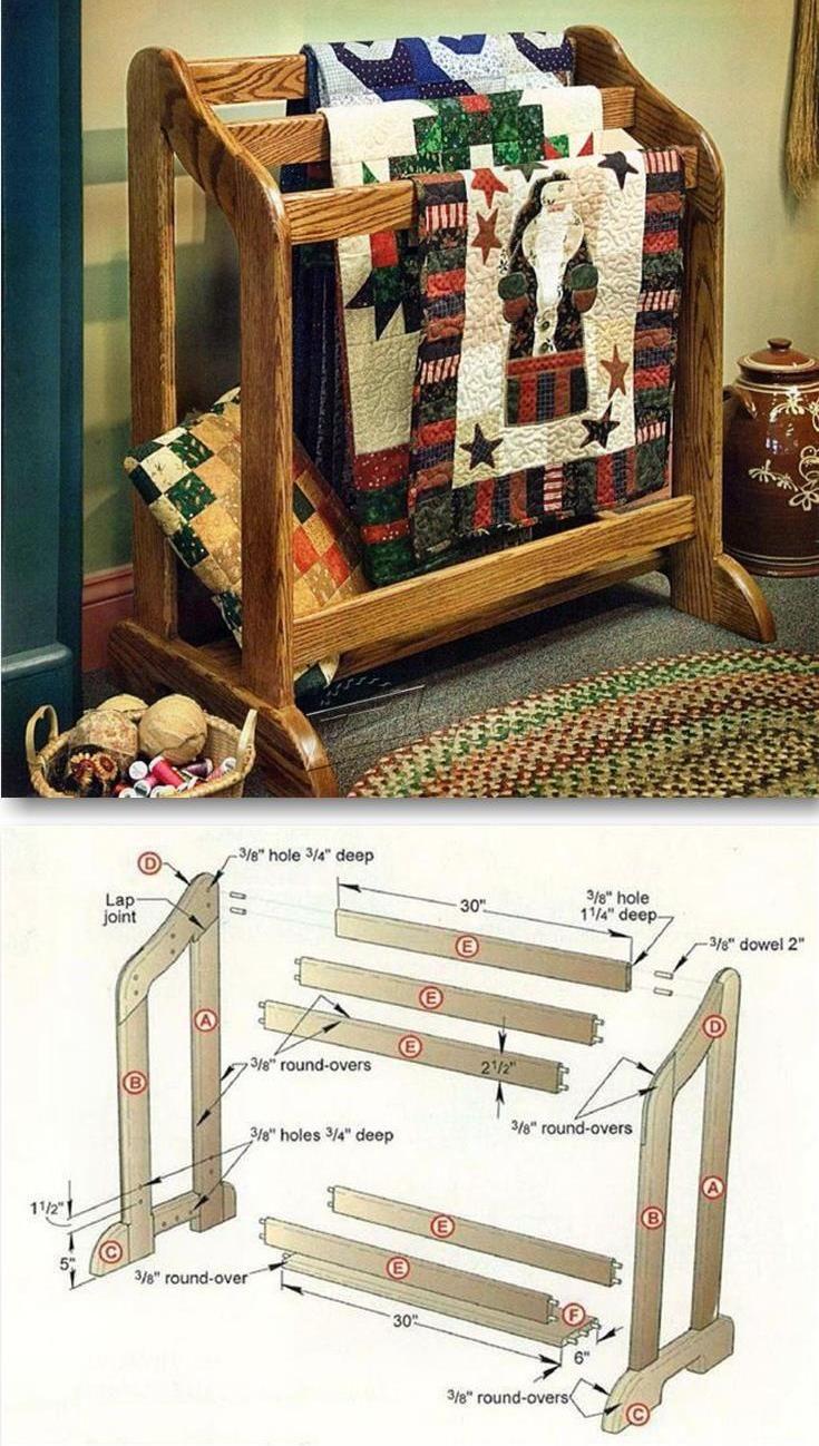 Simple Woodwork Hanging Quilt Rack Plans PDF Plans