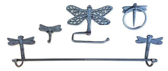 4 Pc Set Cast Iron Dragonfly Bathroom