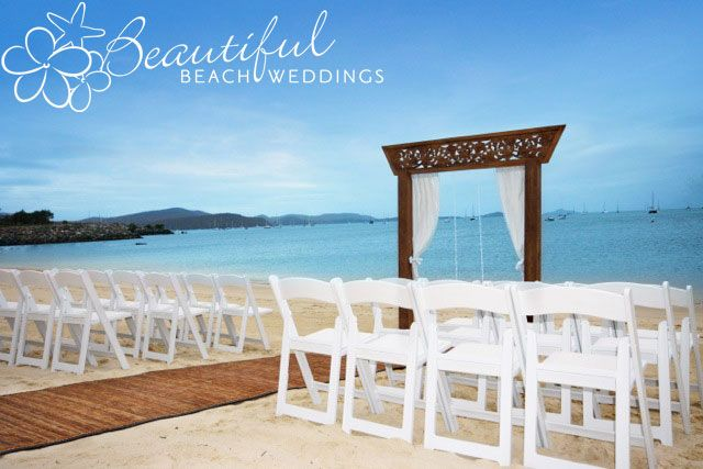 Our hand carved wedding alter taken at Boathaven Beach in Airlie Beach.