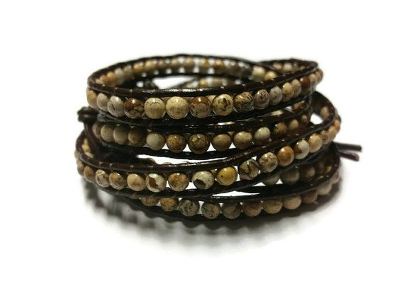 Tan Beaded Bracelet Brown Leather Wrap Gift for by BriAndAshStore