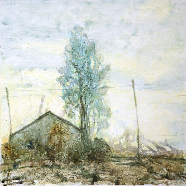 Seija Sainio: Näillä näkymin, mixed media, 60 x 60cm, 2015