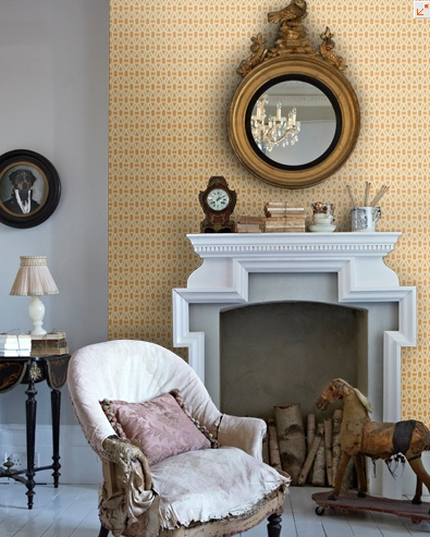 Yellow graphic wallpaper - Lace by Scion