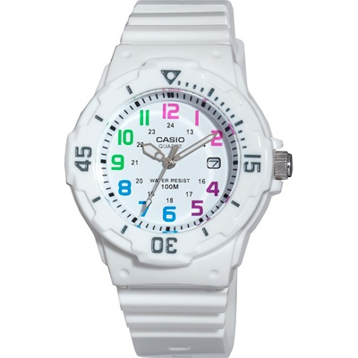 Casio Womens Dive Style Watch with White Strap and Multicolored Numerals