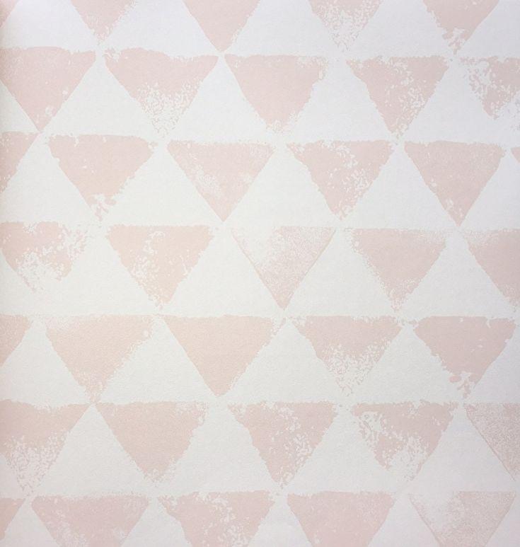 Onszelf Driehoekjes behang zalmroze wit OZ 3091