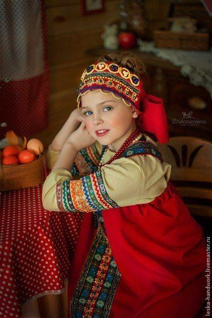 Одежда для девочек, ручной работы. Ярмарка Мастеров - ручная работа. Купить Костюм Русский народный. Handmade. Бордовый, однотонный