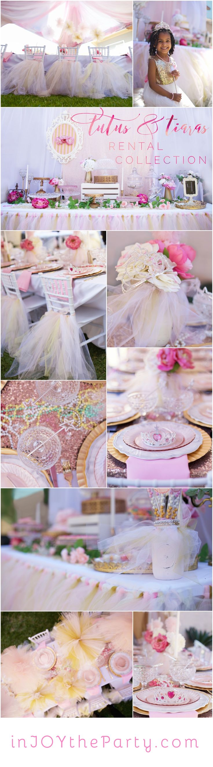 A Princess Party rental collection with an ensemble of pink tutu centerpieces, white chiavari chairs, glittery runners, pink and white flowers, and sparkling tiaras. DIY Parties minus the time & money! @inJOYtheParty