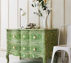 Green & Bone Inlay Curved 2 Drawer Chest - eclectic - dressers chests and bedroom armoires - Graham and Green. wish I can find something similar, but for a lot less. Love this piece.
