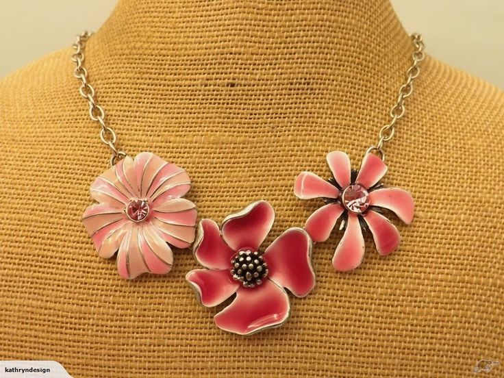 Pink & Silver Flower Necklace | Trade Me