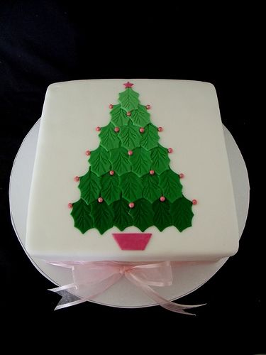 Ombre Christmas Tree Cake with Pink Ribbon. Leaf cutter different shades of fondant