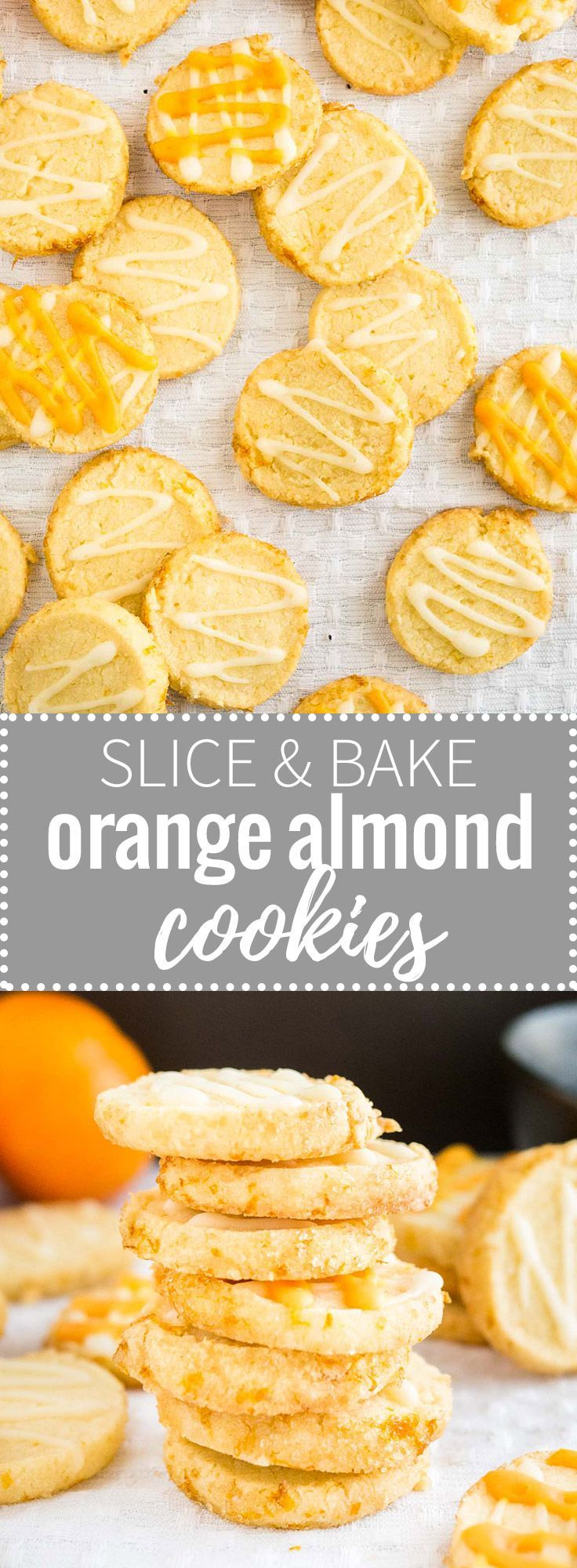 These easy Slice & Bake Orange Almond Cookies are soft in the center and crunchy on the edges!