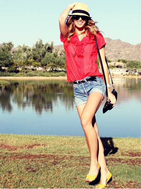 Love the red blouse with jean shorts!