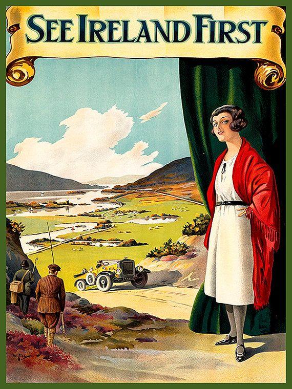 Ireland Travel Poster Irish Decor Wall Art Print by Blivingstons