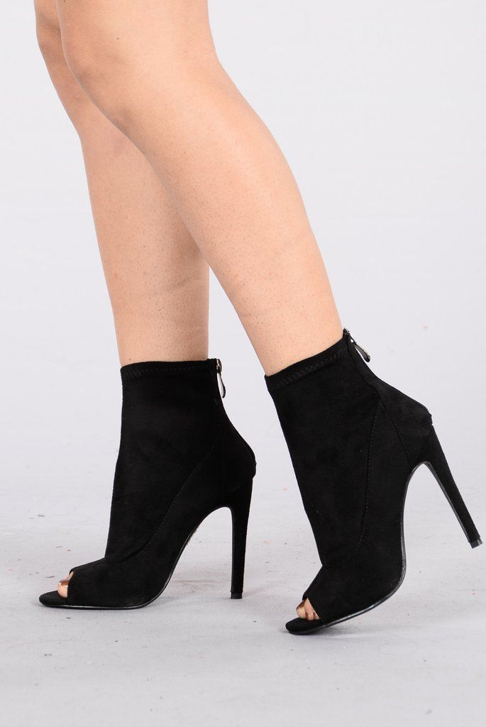 - Available in Black, Dust Rose, and Khaki - Faux Suede - Peep Toe - 4 1/2 Stiletto Heel - Ankle Booties - Back Zipper Closure