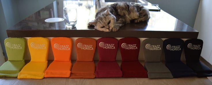Op maat gemaakte terras stoel kussens in alle kleuren. Trazz Horeca.