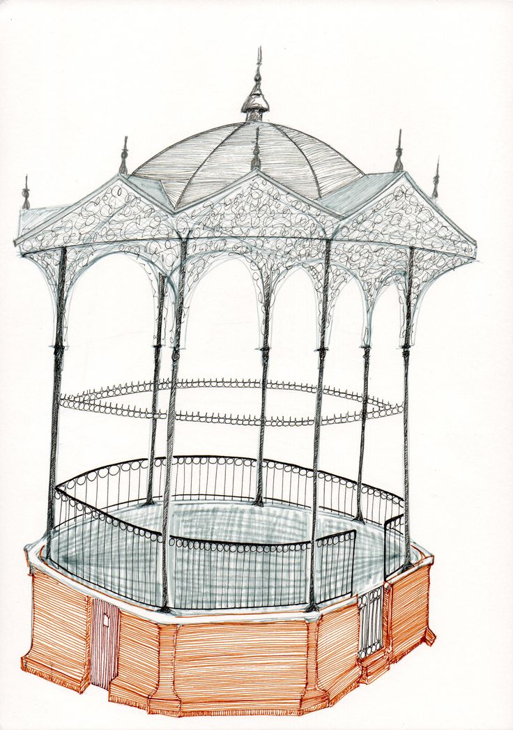 geraardsbergen - music bandstand. in the 1960's the bandstand was torn down. this drawing was published in GERARDIMONTIUM, local heritage quarterly, 2015