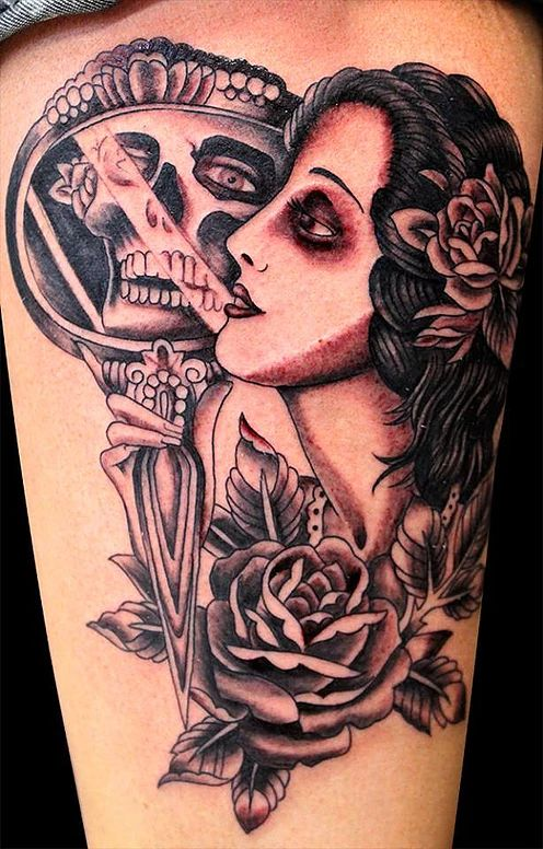 Empire Tattoos Gold Coast Australia artist Damo Gerding specialises in portraits, realism and cover ups. Tattoo woman with skull reflection