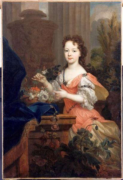 Elisabeth-Charlotte d'Orleans as Mademoiselle de Chartres, later duchesse de Lorraine (1676-1744), daughter of Philippe d'Orleans and Elisabeth-Charlotte du Palaltinat, school of Pierre Mignard (1612-1695)