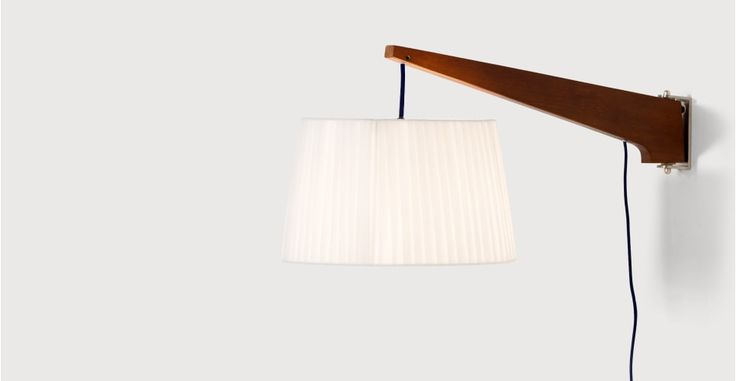 Miller Wall Lamp, Walnut and Navy | made.com