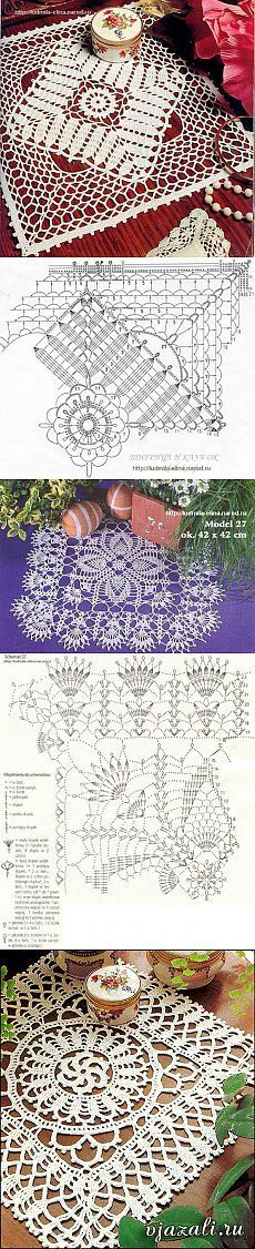 Прямоугольные салфетки крючком - подборка | Вязание крючком и спицами