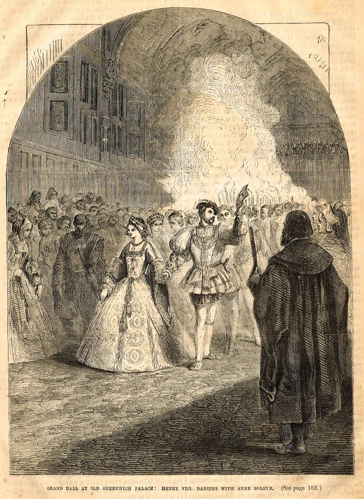 """Cassell's History - """"HENRY VIII DANCING WITH ANNE BOLEYN """" - Engraving - 1858"""