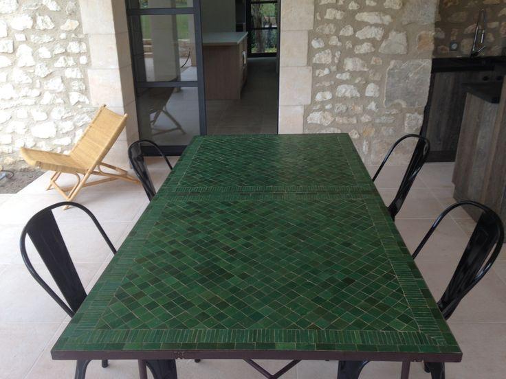 Table Zellige Motif Rayé V4 - Art et Sud Déco