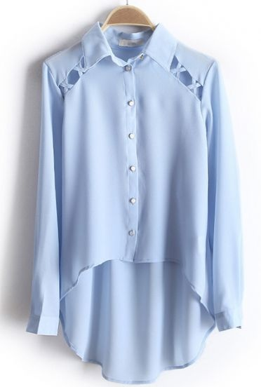 Light Blue Long Sleeve Hollow Dipped Hem Chiffon Blouse