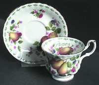 Royal Albert Covent Gardens Footed Cup & Saucer Set, Fine China Dinnerware - Different Fruit Series
