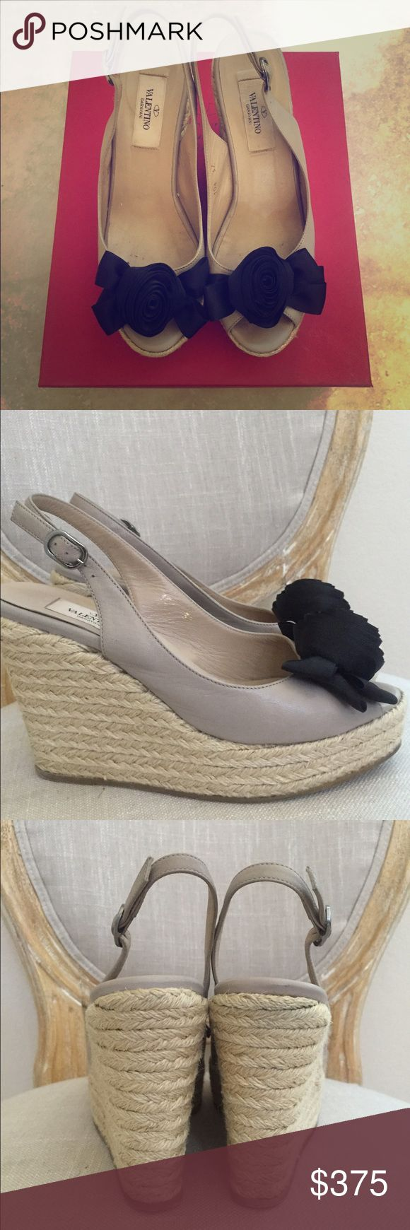 Valentino wedge Pre-loved wedges in excellent condition.  Super comfortable!  Nude leather with black flower.  Size 37.  Box included. Valentino Shoes Wedges