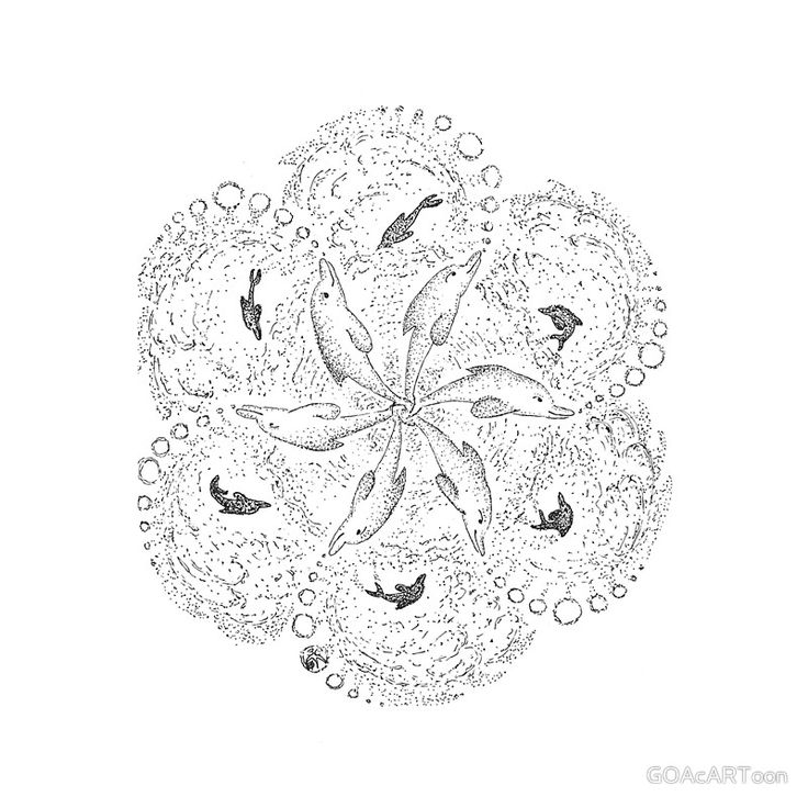 Dolphin Mandala Drawing Printed On Canvas For You To Color Or Enjoy Just