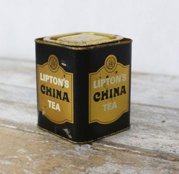 Boîte à thé Lipton par lesindecisesvintage sur Etsy