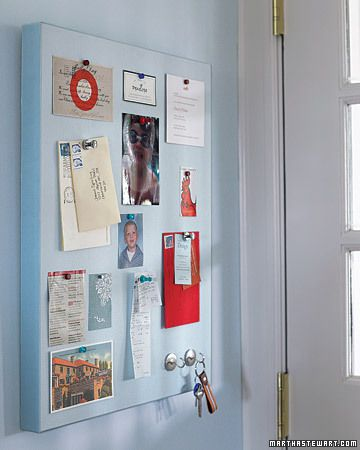 Magnetic bulletin boards are handy, but the color options are limited. Make your own and you can match the color of your kitchen.