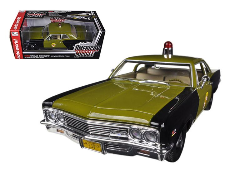 1966 Chevrolet Biscayne Maryland State Police Car Limited to 1500pc Worldwide 1/18 Diecast Model Car by Autoworld - Brand new 1:18 scale diecast car model of 1966 Chevrolet Biscayne Maryland State Police Car die cast car model by Autoworld. Named after a show car displayed at the 1955 General Motors Motorama, the Biscayne was the least expensive model in the Chevrolet full-size car range. Limited Edition. Only 1500 Produced Worldwide. Each model is individually numbered. Brand new box…