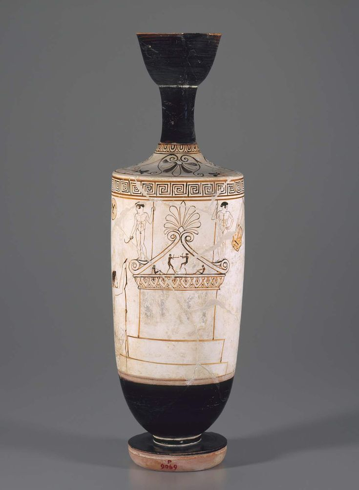 White ground oil flask (lekythos) depicting a grave monument for... about 450–440 B.C.  Painter Thanatos Painter  Greek Athletes | Museum of Fine Arts, Boston