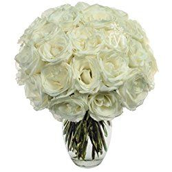 From You Flowers - Long Stemmed White Roses - 2 Dozen (Free Vase Included) for Valentine's Day