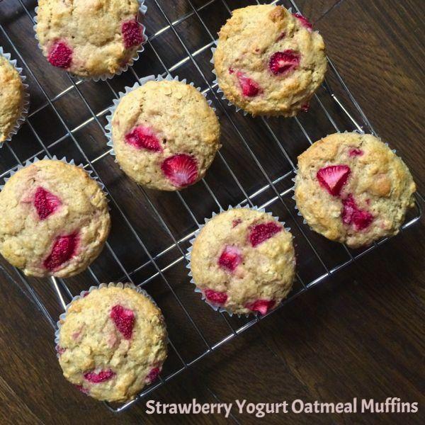 strawberry oatmeal yogurt muffins strawberry oat and yogurt muffins ...