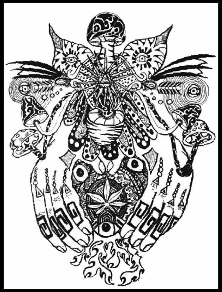 Mushroom Hands Peace Love Hippy Stoner Weed Tribal