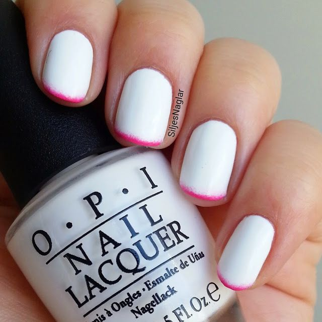Opi Alpine Snow and Opi Strawberry Margarita summer nails
