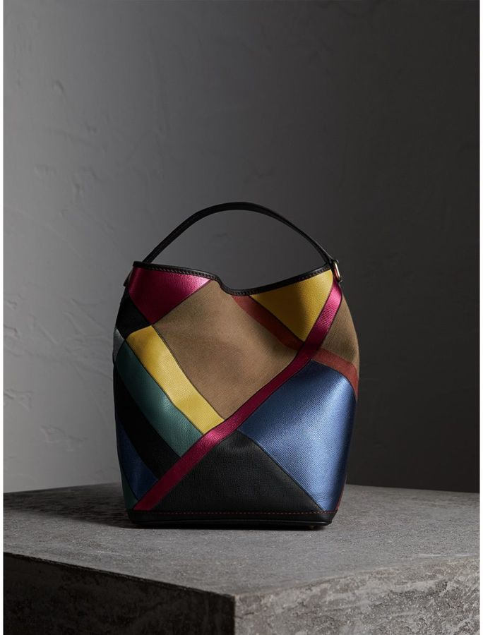 Burberry The Medium Ashby in Patchwork Canvas Check and Leather