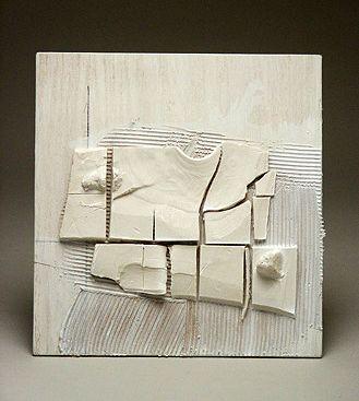 """Margaret Boozer: Landscape Sketch, 2 (2004)  porcelain, plywood, mastic, pencil, paint  8"""" x 8 """" x 1 """""""