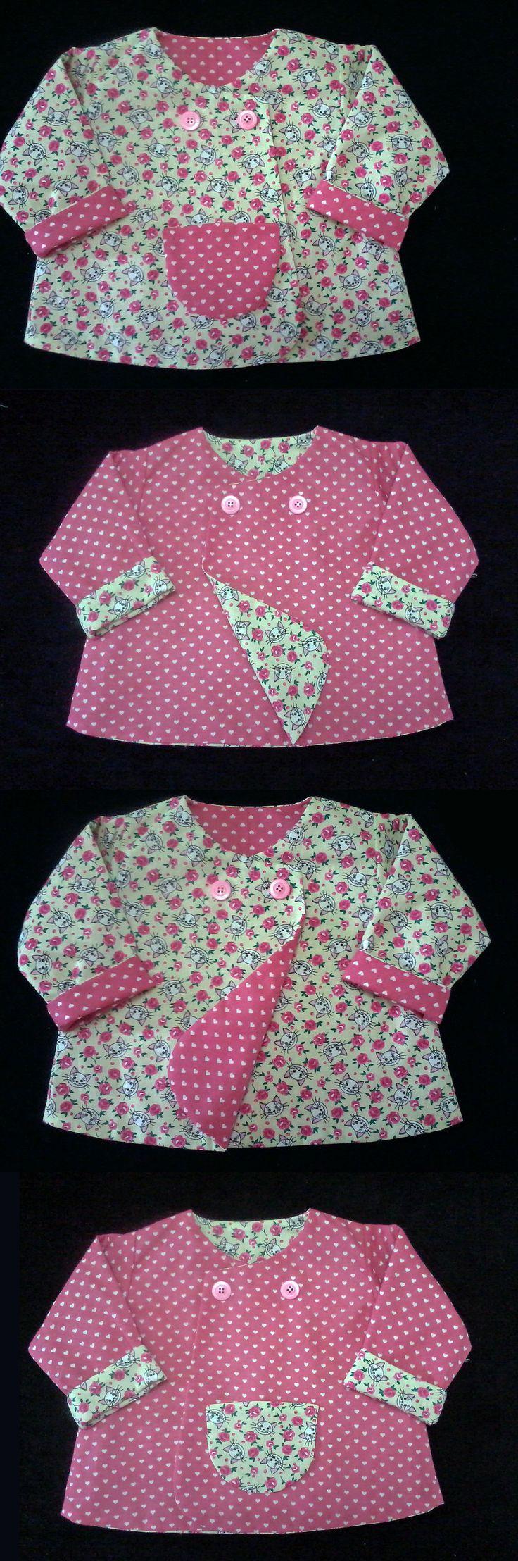 Casaco Dupla Face Rosa  6-12m - Pink Reversible Coat -  6-12mo................................Molde Gratuito - Free Pattern ......................https://www.facebook.com/groups/1594730384185604/......(RLevyFile-CasacoDuplaFaceRosa6-12m-PinkReversibleCoat-6-12mo)