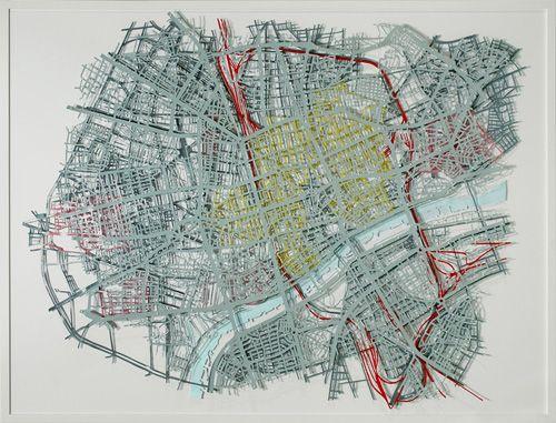 """Matthew Picton - Warsaw 1944, 2008 Duralar, enamel paint, pins, 2009 46"""" x 61"""""""