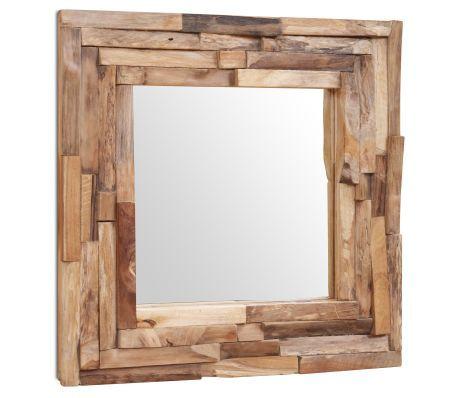 Specchio Decorativo in Legno di Teak 60x60 cm Quadrato